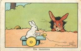 "BENJAMIN RABIER ILLUSTRATEUR - "" UN INCONNU "" - LAPIN - CARTE Ancienne  (7 X 10,5 Cm); - Rabier, B."