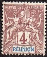Réunion Obl. N°  34 - Type Groupe 4 Cts Lilas-brun Sur Gris - Réunion (1852-1975)