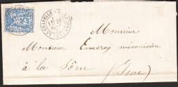 LETTRE/Enveloppe LA CHAPELLE EN VERCORS Du 26 SEPT 1877 Via LA SÔNE (Isère) - 1877-1920: Periodo Semi Moderno
