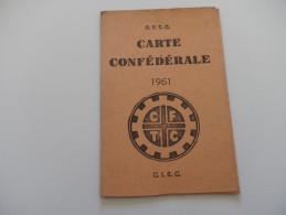 Carte D´adhérent CFTC - 1961 - ROUBAIX - 12 TIMBRES MENSUELS (TOURCOING) - Collections