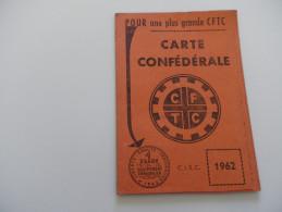 Carte D'adhérent CFTC - 1962 - ROUBAIX - 12 TIMBRES MENSUELS (TOURCOING) 1 TIMBRE IMMOBILIER - Collections