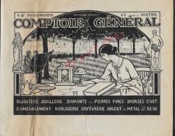FACTURE DE 1922 : H. RIONDET J. PRATT COMTOIR GÉNERALE BIJOUTERIE HORLOGERIE ECT PARIS BOULEVARD POISSONNIÈRE - Petits Métiers