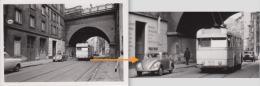 PHOTO VERITABLE 9 X 6cm 11.10.1958 LIGNE 54 TROLLEY BUS 6015 STEENWEG OP ETTERBEEK X VIADUCT WETSTRAAT RUE DE LA LOI / A - Bruxelles-ville