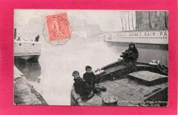75 PARIS, Berges De La Seine, Enfants De Mariniers, Quai De L'Hôtel De Ville, 1907, Animée - Non Classés