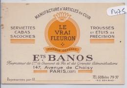PARIS XIII--CARTE-PUB-- ETS BANOS--MANUFACTURE D ARTICLES EN CUIR - Arrondissement: 13