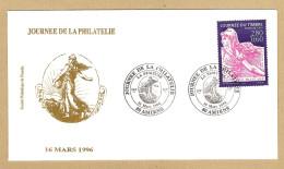 FDC AMIENS 16/3/1996 JOURNÉE DE LA PHILATÉLIE LA SEMEUSE - Sté PHILATÉLIQUE DE PICARDIE - Y & T 1749 - FDC