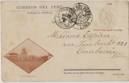 Fuerte De Santa Catalina Postally Used 1898 Cuno Seco Timbre Sec Entier Postal Postal Stationery Vers Courbevoie - Pérou