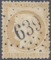 FRANCE 1873 CERES 15c Nº 55 BRION SUR OURCE 639 INDICE 7 - 1871-1875 Cérès