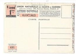 MILITARIA Union Nationale Des Gazés De Guerre Carte De La Loterie Nationale - Patriottiche