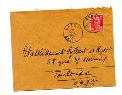 Lettre Cachet Barbotan Sur Gandon - Marcophilie (Lettres)