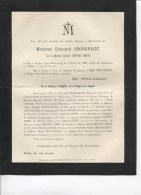 AVIS DE DECES - MADAME EDOUARD BRONGNIART NEE CATHERINE EDMEE SIMONIS EMPIS - DECEDEE A ANTIBES 1900 - Décès