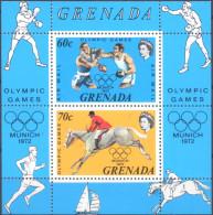 Grenada, 1972, Olympic Games Münch, Block Isue MNH, Boxing, Equestrian Sport Hoirse Junp,  Reitsport - Zomer 1972: München