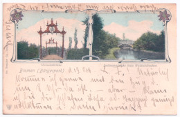 Litho AK  BREMEN Bürgerpark Niemannbrücke Lodtmannbrücke B. Waldschlößchen 1904 - Bremen