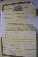 Dispense Définitive.sieur DUBOISLE BENJAMIN Natif De Canaples Sera Rayé Du Tableau De Conscription.1er Nivose,An Douze - Documents Historiques