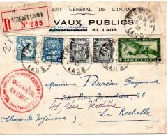 Env De Vientiane  Laos Obl.19-3-40 Pour La Rochelle-défauts Sur L'env - Briefe U. Dokumente