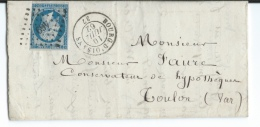 LETTRE 20 C  EMPIRE N°14  BOURG D'OISANS   A  TOULON  PC - Postmark Collection (Covers)