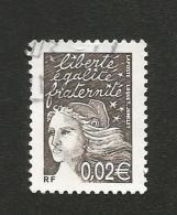 N° 3444 Marianne De Luquet 0,02 €bistre Noir  Oblitéré France 2002   Variété Tête Et Bonnet Claire - Variedades Y Curiosidades