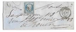 LETTRE 20 C EMPIRE N°14  FAUVILLE A  ROUEN  PC - 1849-1876: Klassieke Periode