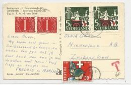 NEDERLAND - 1964 - CARTE De LUNTEREN Pour NIEDERLENZ (SUISSE) Avec TAXE - Marcophilie
