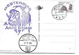25728 - Carte Du Groenland Base Mestersvig - Deux Cachets Dont Rare Cachet Postal Avec écusson  1985 - Wetenschappelijke Stations & Arctic Drifting Stations