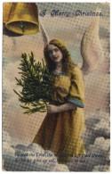 A Merry Christmas (angel, Tree, Bells) - Postmark 1913 - Angels