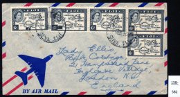 Fiji  Airmail Envelope From Fiji To Lady Ellis In Hampstead, Franked 5 X QE11 6d Black Map - Fiji (...-1970)