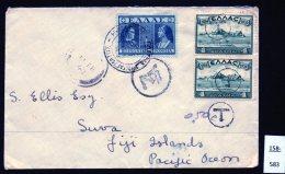 Taxed Letter From Greece To Fiji 1940, SUVA Transit 14 FE 40 Backstamp. - Fiji (...-1970)