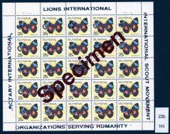 1989 Sheet/25 MNH Butterflies Optd Specimen : Lions International, Rotary & Scouts : 25c SILVER Opt