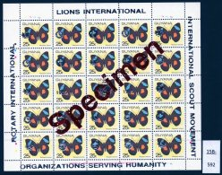 Guyana 1989 Sheet/25 MNH Butterflies Optd Specimen : Lions International, Rotary & Scouts : 25c SILVER Opt - Guyana (1966-...)
