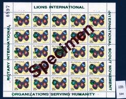 Guyana 1989 Sheet/25 MNH Butterflies Optd Specimen : Lions International, Rotary & Scouts : 25c GREEN Opt - Guyana (1966-...)