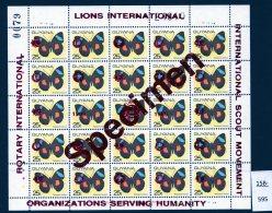 1989 Sheet/25 MNH Butterflies Optd Specimen : Lions International, Rotary & Scouts : 25c RED Opt