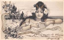 """¤¤  -  Illustrateur  """"  RAPHAEL  KIRCHNER  """"   -  Jeune Femme Effeuillant Une Marguerite      -  Art Nouveau    -  ¤¤ - Kirchner, Raphael"""