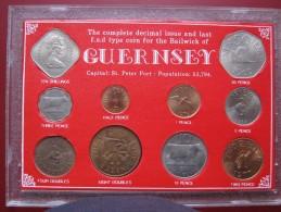 Guernsey 1934 - 1977 10 Coin Set  Decimal 1/2 Penny - 50 Pence & Pre-Decimal 4 Doubles - 10 Shillings - Guernsey