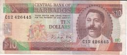 BILLETE DE BARBADOS DE 10 DOLLARS DEL AÑO 1986  (BANKNOTE) - Barbados