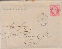 """1872-lettre De Marseille Pour Genova (Italie)-affranchie N°24-cachet Ambulant M.L.*-au Dos Cachet """"AMBULANTE """" 3 Scan"""