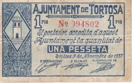 BILLETE DE 1 PTA  DEL AJUNTAMENT DE TORTOSA DE NOVIEMBRE 1937 (BANKNOTE) - [ 3] 1936-1975 : Régence De Franco