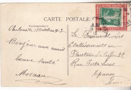 """Carte De 1913 Avec Vignette Porte Timbre """"Guerre Contre L'alcool"""". Complete Tb état.51 Chalons. - Marcophilie (Lettres)"""