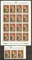 1973 Liechtenstein NATALE  CHRISTMAS 19 Serie (542) MNH** In Minifoglio + 3, Minisheet +3 - Natale
