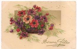 Ldiv.298 -  Bonne Fête - Bouquet D'Anémones  - Meisjner N°59 - Fleurs En Relief Granité - Holidays & Celebrations