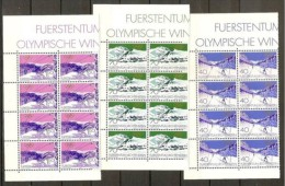 1979 Liechtenstein OLIMPIADI INVERNALI  WINTER OLYMPICS 8 Serie Di 3v. In Blocco MNH** - Inverno