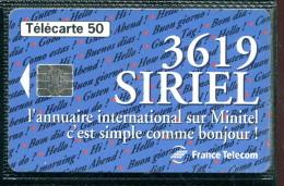 Télécarte 50 Unités : 36-19 SIRIEL - Tirage 1 500 000 Ex - Francia