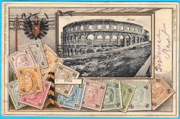 POLA ( Pula ) - Arena ... Patriotic Card ( Croatia ) * Stamps On Postcard * Istria Croazia Kroatien Istrien Istrian - Croatia