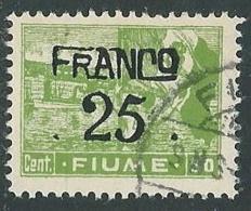 1919 FIUME USATO FRANCO FIUME 25 SU 50 CENT CARTA C - F2.5 - Occupation 1ère Guerre Mondiale