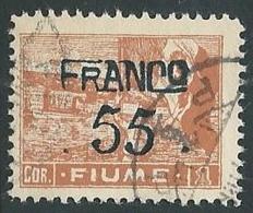 1919 FIUME USATO FRANCO FIUME 55 CENT SU 1 COR CARTA C - F2.5 - Occupation 1ère Guerre Mondiale