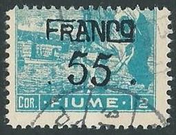 1919 FIUME USATO FRANCO FIUME 55 CENT SU 2 COR CARTA C - F2.5 - Occupation 1ère Guerre Mondiale