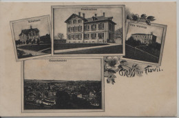 Flawil, Gruss Aus - Schulhaus, Krankenhaus, Villa Waldegg, Gesamtansicht - 4 Bild AK - SG St. Gall