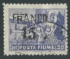 1919 FIUME USATO FRANCO POSTA FIUME 15 SU 30 CENT - F2.4 - Occupation 1ère Guerre Mondiale