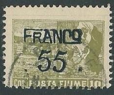 1919 FIUME USATO FRANCO POSTA FIUME 55 SU 10 COR - F3 - Occupation 1ère Guerre Mondiale