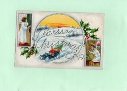 C1804 - Merry Christmas - Enfants - Père Noël - Carte Gaufrée - Unclassified