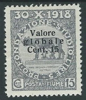 1920 FIUME VALORE GLOBALE 15 CENT MH * - F3.6 - Fiume